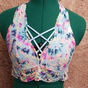 V.S. PINK colorful lace halter bra